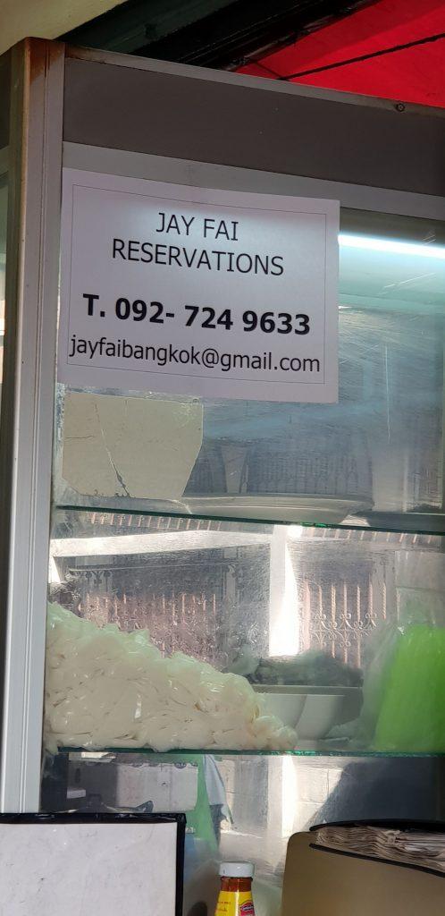 Email y Telefono de contacto reservas Jay Fai